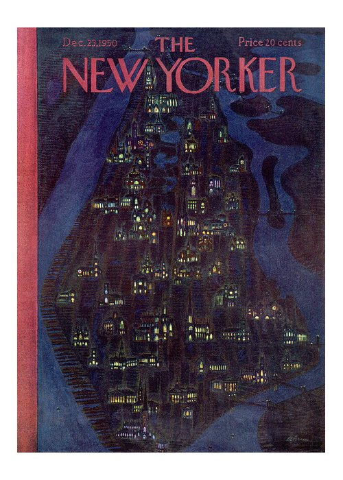Urban Greeting Card featuring the painting New Yorker December 23, 1950 by Alain