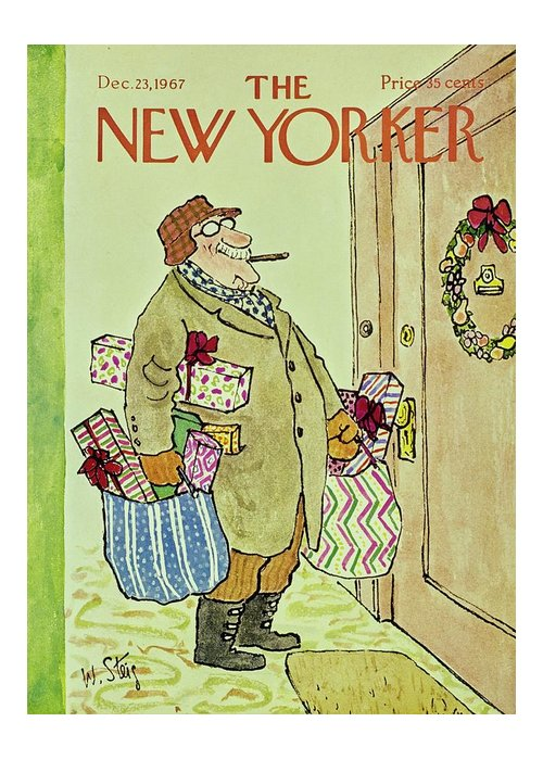 Illustration Greeting Card featuring the painting New Yorker December 23rd 1967 by William Steig