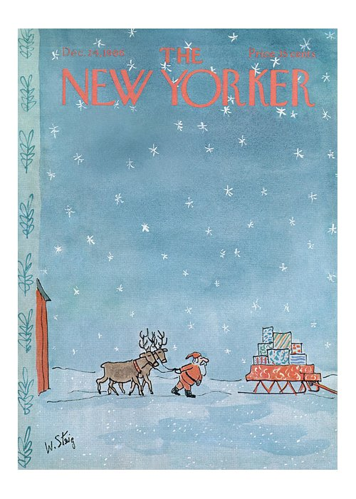 William Steig Wst Santa Claus Chris Kris Kringle Saint St Nick Christmas Xmas Holiday Reindeer Deer Sled Sleigh Snow Snowing Eve Present Presents Gift Gifts Toy Toys Sumnerok William Steig Wst Artkey 49920 Greeting Card featuring the painting New Yorker December 24th, 1966 by William Steig