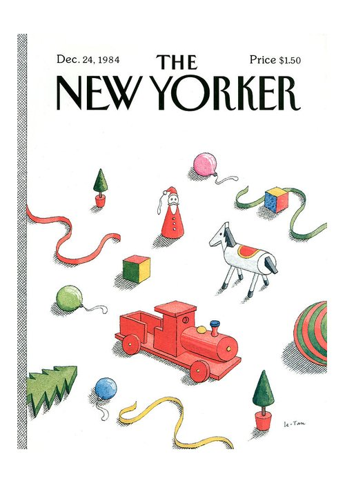 Santa Claus Greeting Card featuring the painting New Yorker December 24th, 1984 by Pierre LeTan