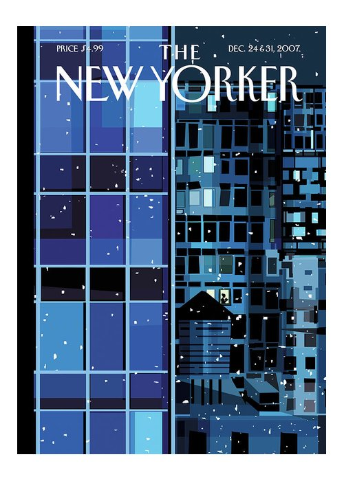 Urban Greeting Card featuring the painting New Yorker December 24th, 2007 by Kim DeMarco