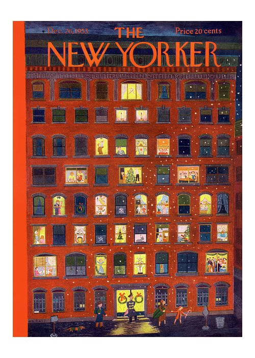 Apartment Greeting Card featuring the painting New Yorker December 26, 1953 by Ilonka Karasz