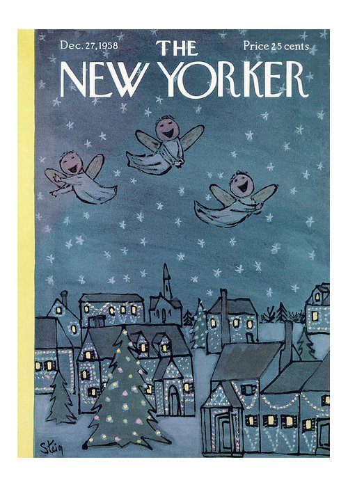 William Steig Wst Greeting Card featuring the painting New Yorker December 27th, 1958 by William Steig