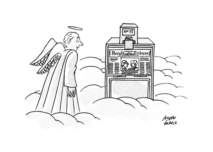 No Caption An Angel Is Looking Astonished At An International Herald Tribune Machine On A Cloud.  No Caption An Angel Is Looking Astonished At An International Herald Tribune Machine On A Cloud. Heaven Greeting Card featuring the drawing New Yorker December 30th, 1991 by Joseph Farris