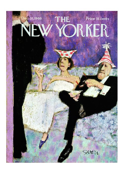 (a Formally Dressed Couple With New Year's Eve Hats On Greeting Card featuring the painting New Yorker December 31st, 1966 by Charles Saxon