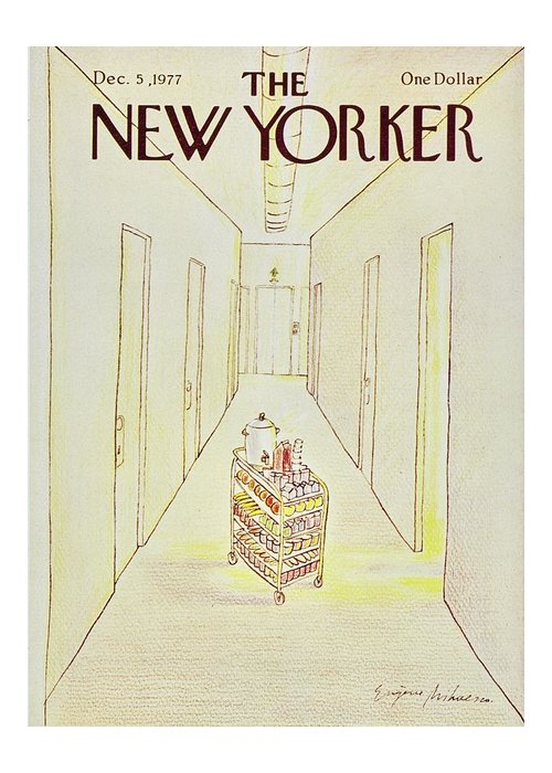 Illustration Greeting Card featuring the painting New Yorker December 5th 1977 by Eugene Mihaesco