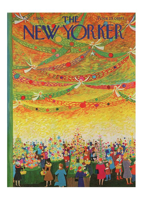 Christmas Greeting Card featuring the painting New Yorker December 7th, 1963 by Ilonka Karasz