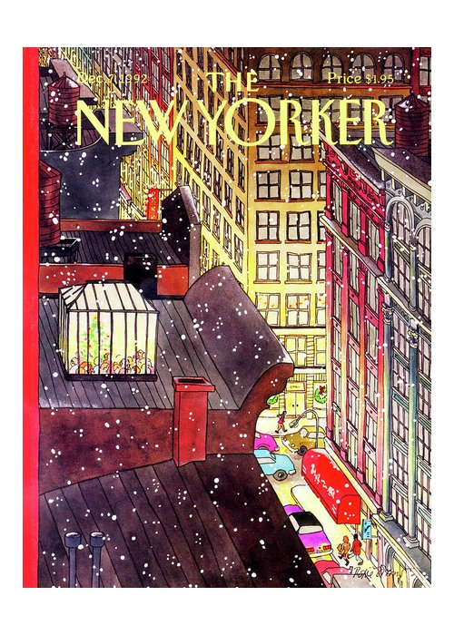 A Birds-eye View Of A Busy Shopping Evening Downtown. Snow Begins To Fall On The Rooftops Where One Sunroof Is Illuminated By A Crowd Gathered Around A Christmas Tree. Greeting Card featuring the painting New Yorker December 7th, 1992 by Roxie Munro