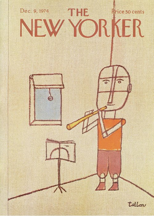 Music Greeting Card featuring the painting New Yorker December 9th, 1974 by Robert Tallon