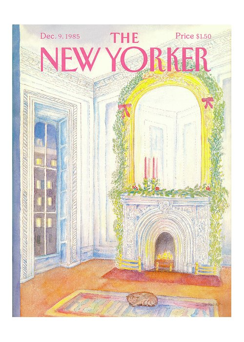 Cat Greeting Card featuring the painting New Yorker December 9th, 1985 by Iris VanRynbach