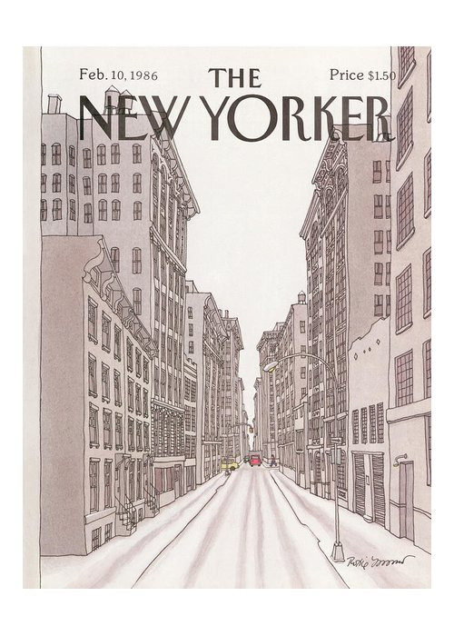 Urban Greeting Card featuring the painting New Yorker February 10th, 1986 by Roxie Munro