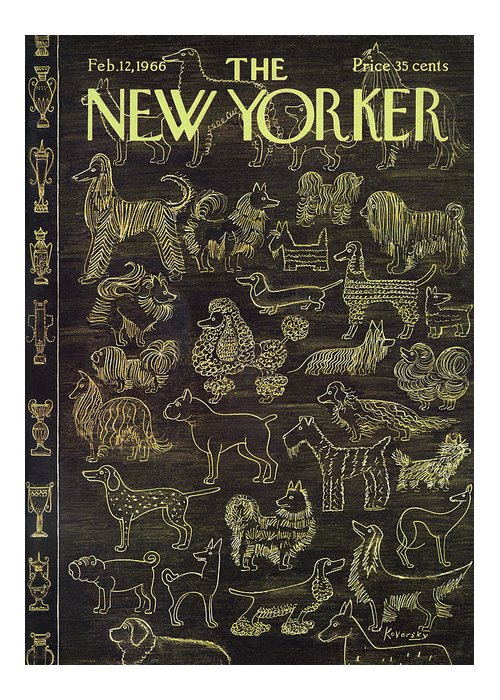 New yorker february 12th 1966 greeting card for sale by anatol kovarsky different varieties of dogs with different trophies lined up along the side animals m4hsunfo