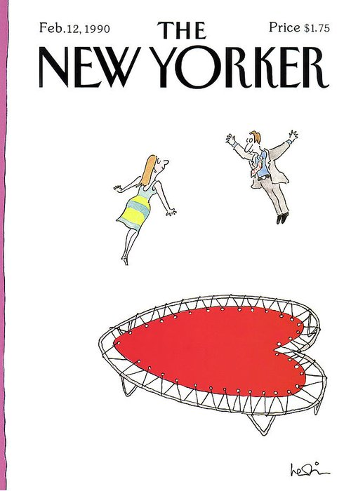 (a Man And A Woman Jump Towards Each Other On A Heart Shaped Trampoline.) Holidays Greeting Card featuring the painting New Yorker February 12th, 1990 by Arnie Levin