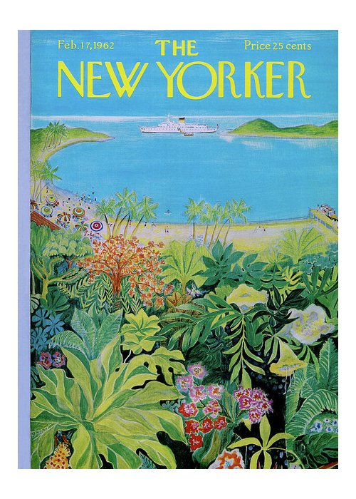 Sea Greeting Card featuring the painting New Yorker February 17th, 1962 by Ilonka Karasz