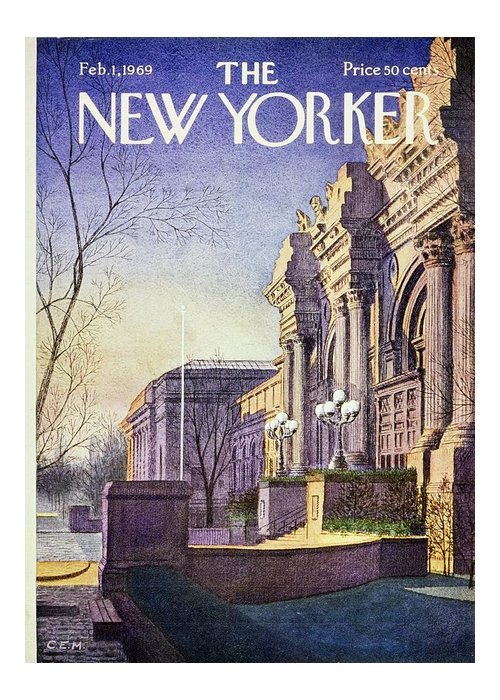 Illustration Greeting Card featuring the painting New Yorker February 1st 1969 by Charles E Martin