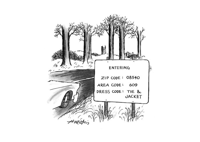 (sign By The Side Of The Road That Reads Greeting Card featuring the drawing New Yorker February 1st, 1993 by Henry Martin
