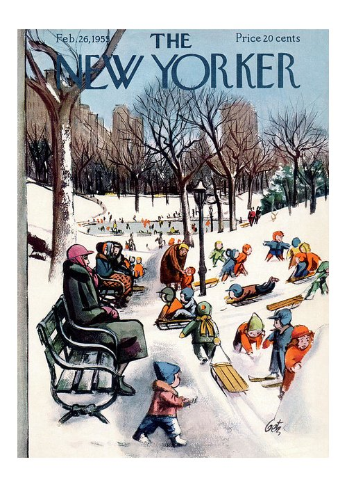 New York City Greeting Card featuring the painting New Yorker February 26th, 1955 by Arthur Getz