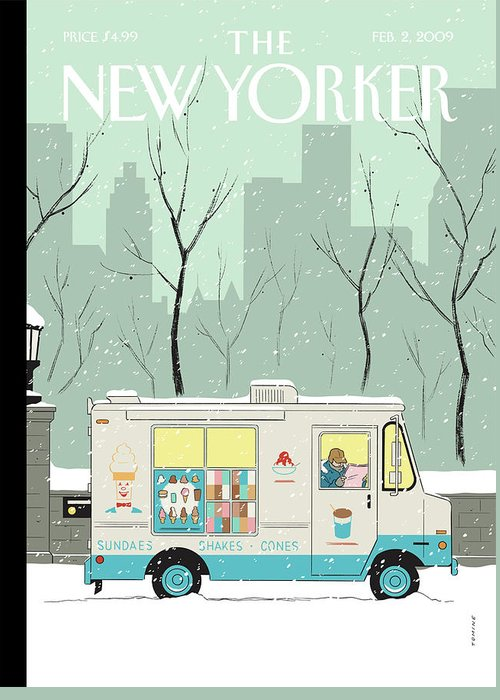 Ice Cream Greeting Card featuring the painting Winter Break by Adrian Tomine