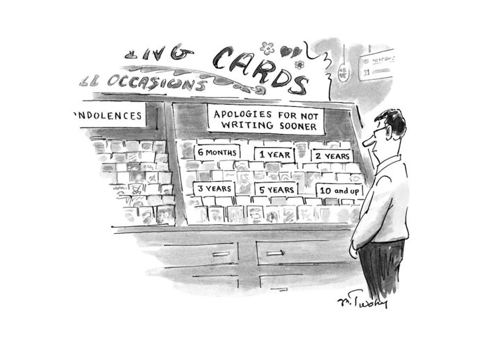 Consumerism Greeting Card featuring the drawing New Yorker February 3rd, 1997 by Mike Twohy
