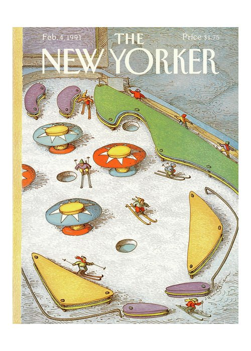Entertainment Greeting Card featuring the painting New Yorker February 4th, 1991 by John O'Brien