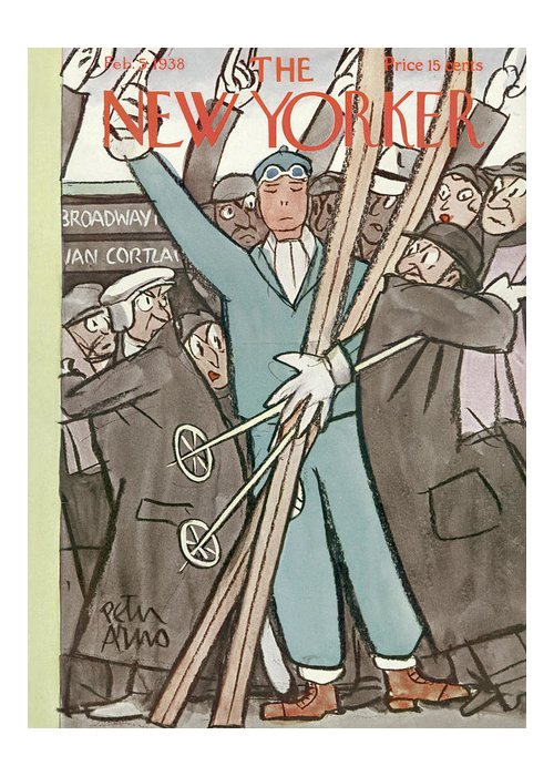 Subway Greeting Card featuring the painting New Yorker February 5, 1938 by Peter Arno
