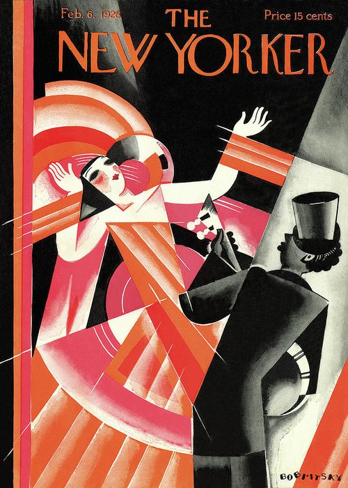 Concert Music Musical Hall Theater Performance Entertainment Actors Actor Actress Dancer Performer Player Banjo Guitar Top Hat Costume Jazz Modern Art Artistic Cubist Futurist Cubism Victor Bobritsky Vbo Sumnerok Artkey 48028 Greeting Card featuring the painting New Yorker February 6th, 1926 by Victor Bobritsky