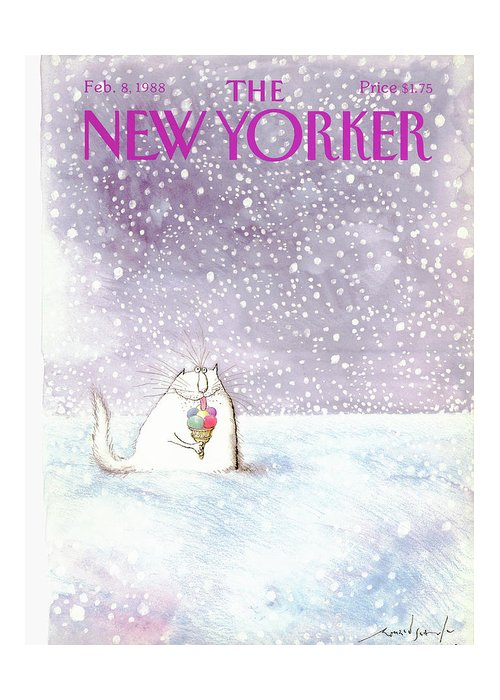 Animal Greeting Card featuring the painting New Yorker February 8th, 1988 by Ronald Searle