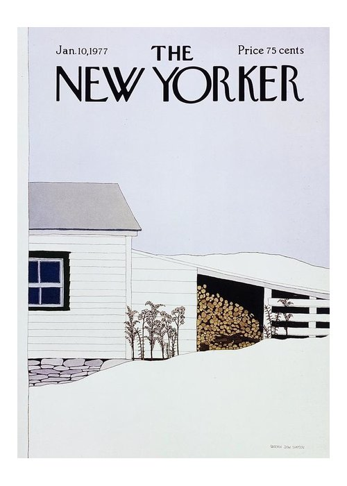 Illustration Greeting Card featuring the painting New Yorker January 10th 1977 by Gretchen Dow Simpson