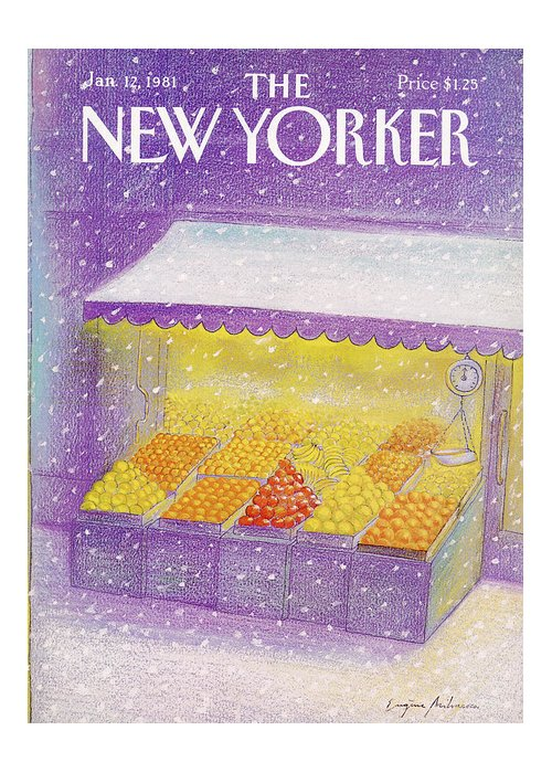 Season Greeting Card featuring the painting New Yorker January 12th, 1981 by Eugene Mihaesco