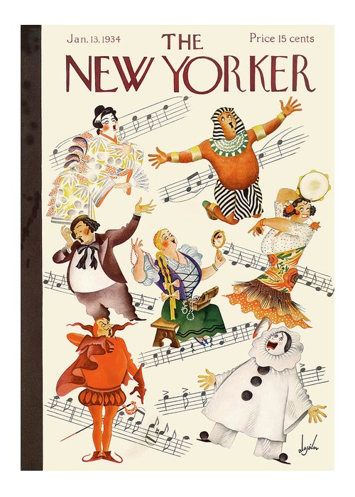 Music Singing Sing Singer Opera Aria Performer Actor Metropolitan Lincoln Carmen Aida Theater Constantine Alajalov Cal Sumnerok Artkey 48390 Greeting Card featuring the painting New Yorker January 13th, 1934 by Constantin Alajalov