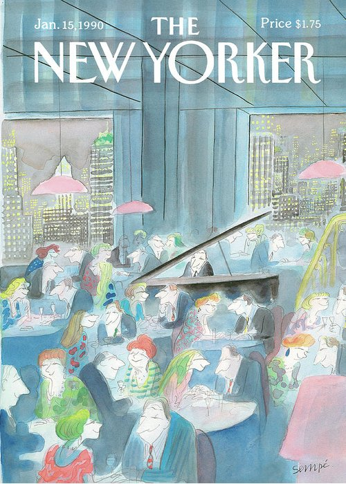 Restaurant Greeting Card featuring the painting New Yorker January 15th, 1990 by Jean-Jacques Sempe