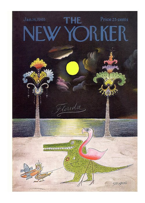 Saul Steinberg 49836 Steinbergattny Greeting Card featuring the painting New Yorker January 16th, 1965 by Saul Steinberg