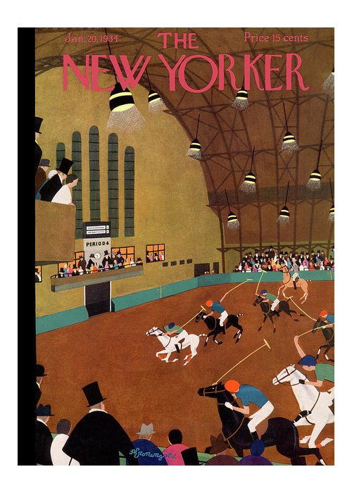 Polo Greeting Card featuring the painting New Yorker January 20th, 1934 by Adolph K Kronengold