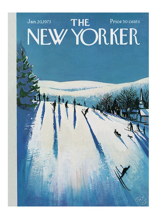 Snow Greeting Card featuring the painting New Yorker January 20th, 1973 by Arthur Getz