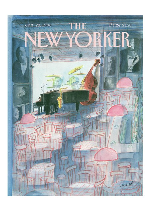 Music Greeting Card featuring the painting New Yorker January 20th, 1986 by Jean-Jacques Sempe