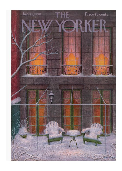 Snow Greeting Card featuring the painting New Yorker January 21st, 1956 by Edna Eicke