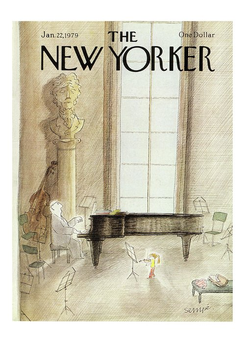 J.j. Sempe Jse Greeting Card featuring the painting New Yorker January 22nd, 1979 by Jean-Jacques Sempe