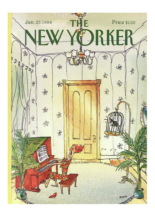 Music Greeting Card featuring the painting New Yorker January 23rd, 1984 by George Booth