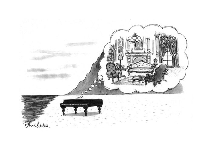 (the Piano On A Desolate Beach Wishing It Was In A Nice Parlor.)  No Caption Piano On Beach Has Mental Image Of Comfortable Victorian Parlor. Refers To Jane Campion's Film  Greeting Card featuring the drawing New Yorker January 24th, 1994 by Mort Gerberg