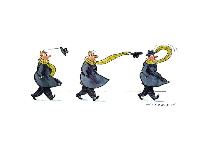 (sequence Of Three Drawings In Which A Man's Hat Is Blown Off By The Wind And His Very Long Scarf Reaches Out To Grab It) Nature Greeting Card featuring the drawing New Yorker January 25th, 1993 by Bill Woodman