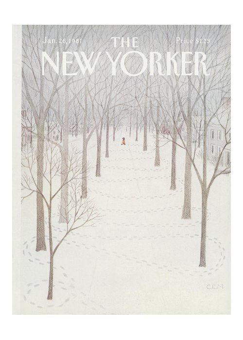 Season Greeting Card featuring the painting New Yorker January 26th, 1981 by Charles E Martin