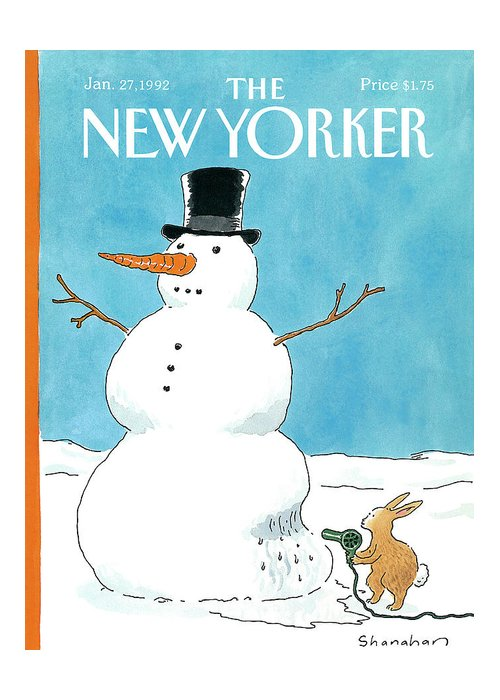 A Very Smart Rabbit Uses A Hairdryer To Melt Away A Snow Man So He Can Get To Its Carrot Nose. Greeting Card featuring the painting New Yorker January 27th, 1992 by Danny Shanahan