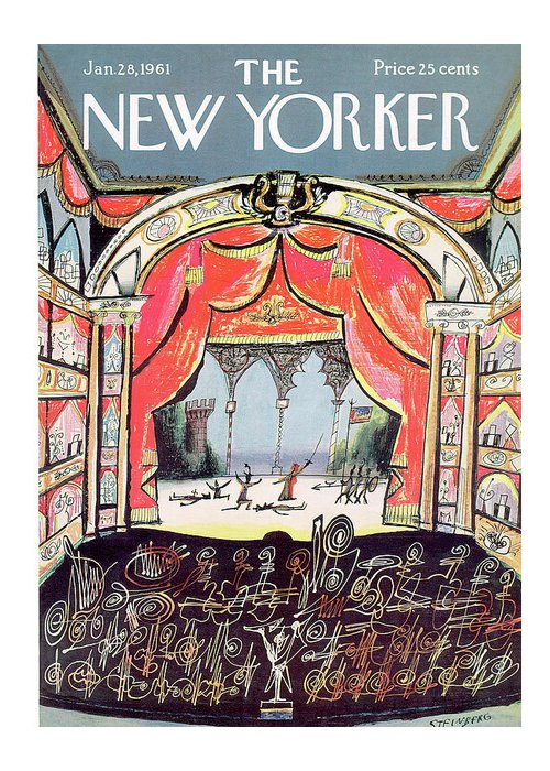 Saul Steinberg 49648 Steinbergattny Greeting Card featuring the painting New Yorker January 28th, 1961 by Saul Steinberg