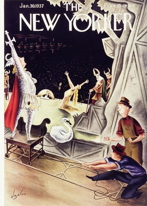 Illustration Greeting Card featuring the painting New Yorker January 30 1937 by Constantin Alajalov