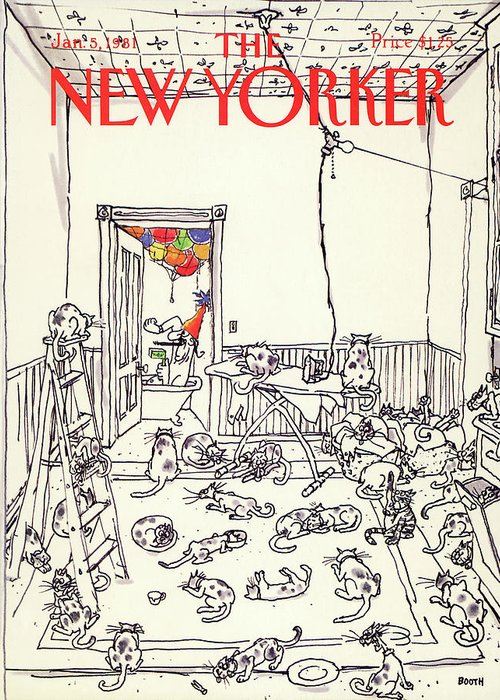 Holiday Greeting Card featuring the painting New Yorker January 5th, 1981 by George Booth