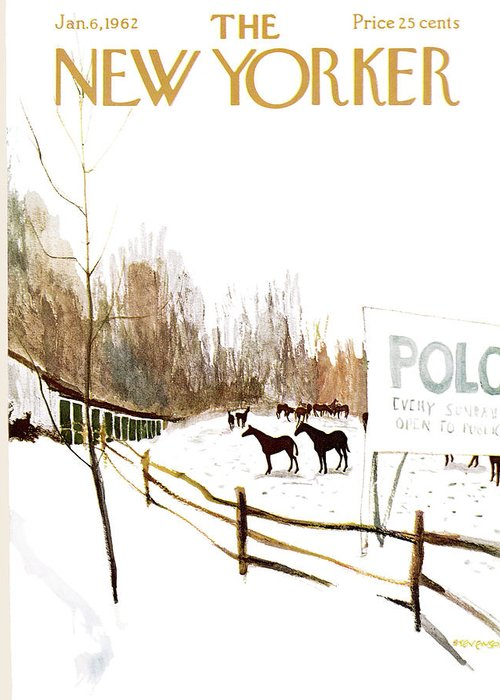Suburb Country Outdoors Community Town Small Suburban Quaint Village Sport Sports Horse Horses Polo Snow Winter Snowing Jst James Stevenson Sumnerok James Stevenson Jst Artkey 49692 Greeting Card featuring the painting New Yorker January 6th, 1962 by James Stevenson