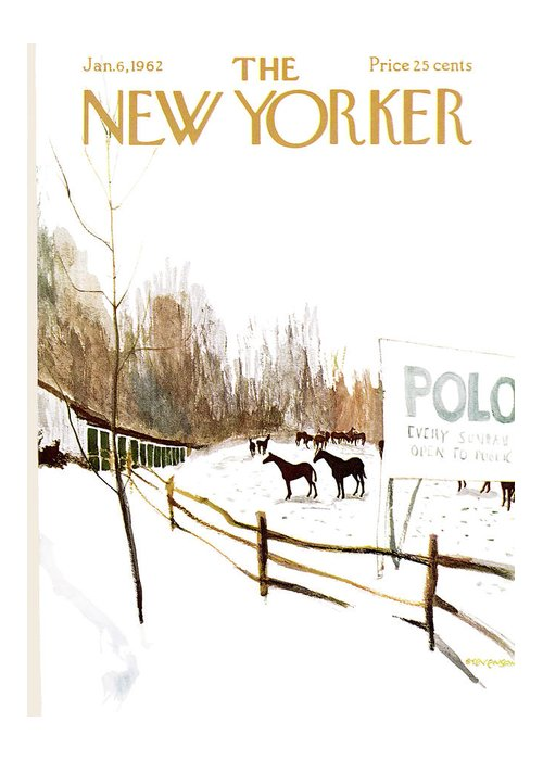 Suburb Greeting Card featuring the painting New Yorker January 6th, 1962 by James Stevenson