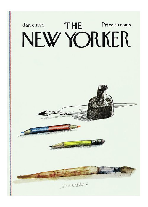 Saul Steinberg 50268 Steinbergattny Greeting Card featuring the painting New Yorker January 6th, 1975 by Saul Steinberg