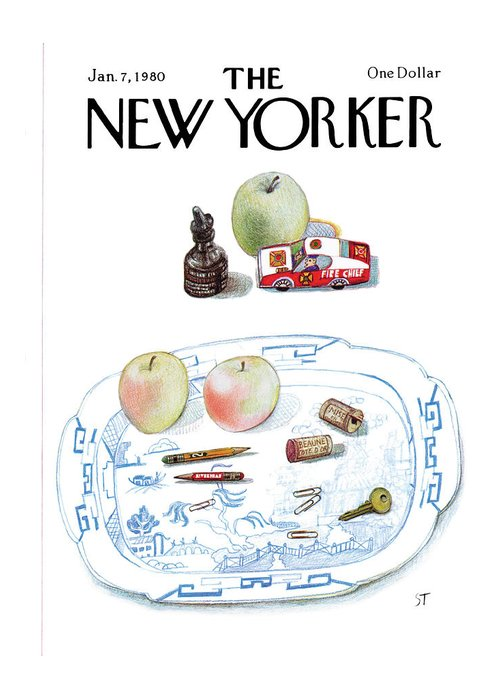 Saul Steinberg 50465 Steinbergattny   (a Dish On A Table With Apples Greeting Card featuring the painting New Yorker January 7th, 1980 by Saul Steinberg
