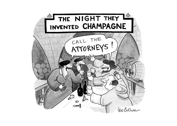 Law Greeting Card featuring the drawing New Yorker January 8th, 1990 by Leo Cullum